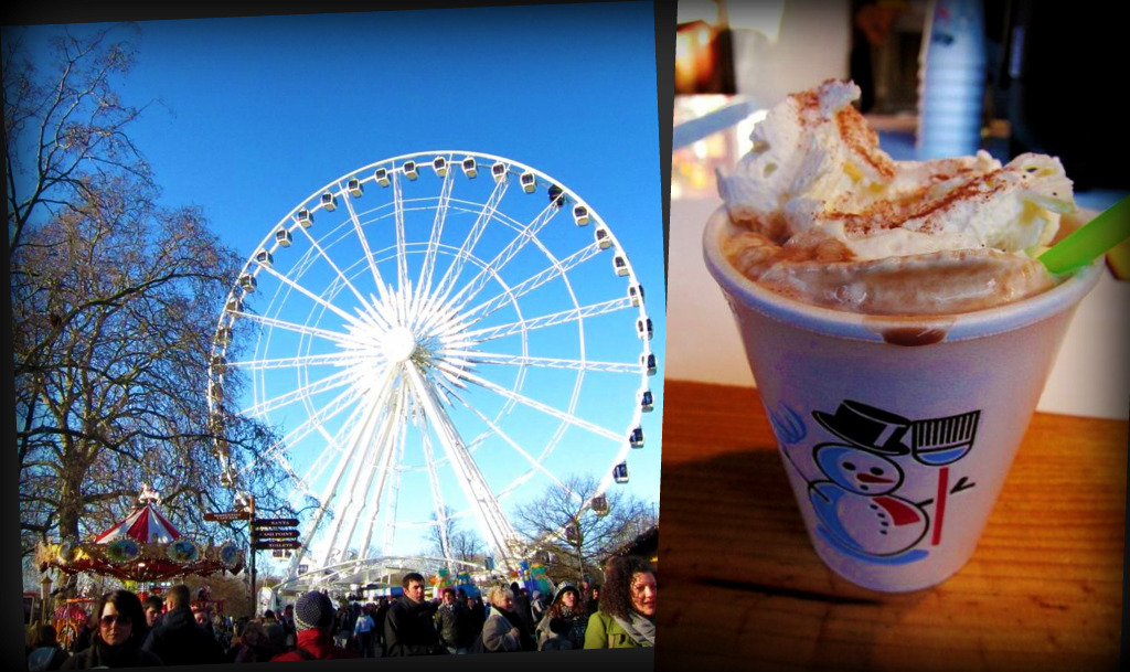 Hyde Park Christmas markets; hot chocolate with cream