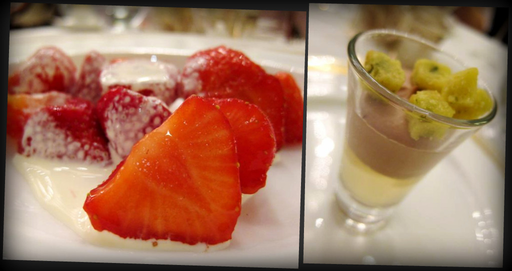 "fresh strawberries & cream; vanilla jelly, chocolate mousse and pistachio ""croutons"""
