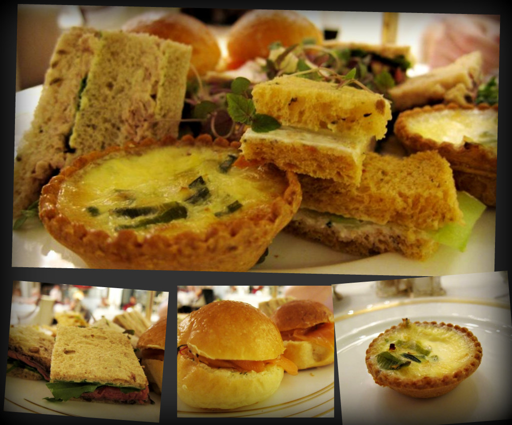 savouries: brioche with smoked salmon; beef sandwich with blue cheese; goats cheese tart; turkey & cranberry sandwich; tuna sandwich; cucumber sandwich