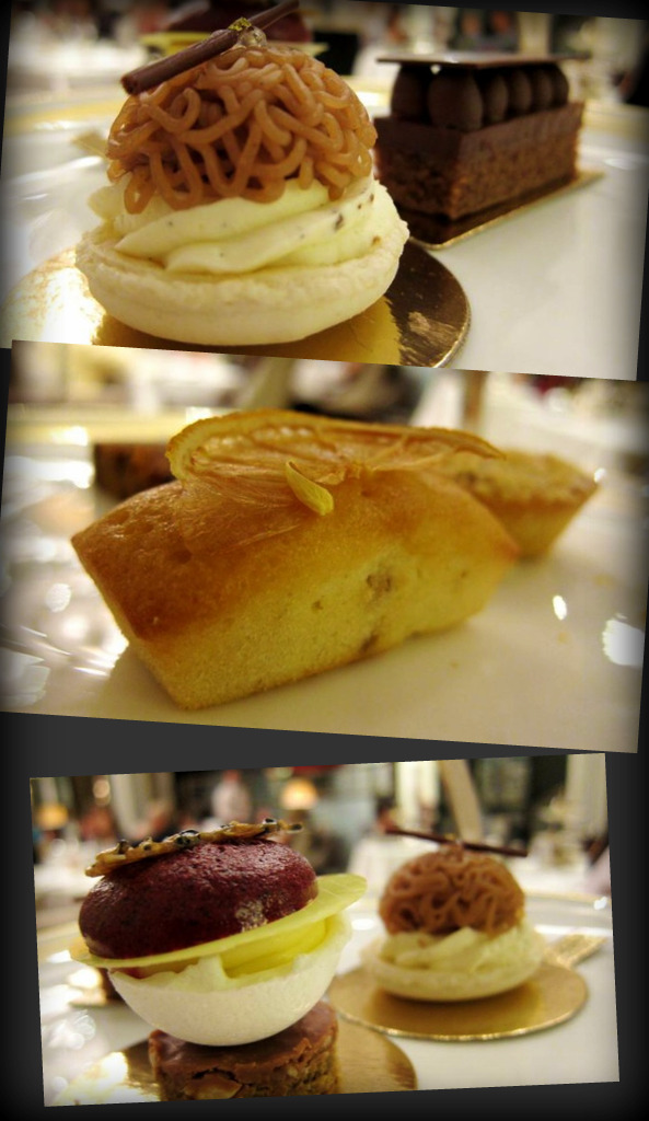sweets: macaroon with hazelnut cream; lemon cake; blueberry macaroon with lemon meringue & white chocolate