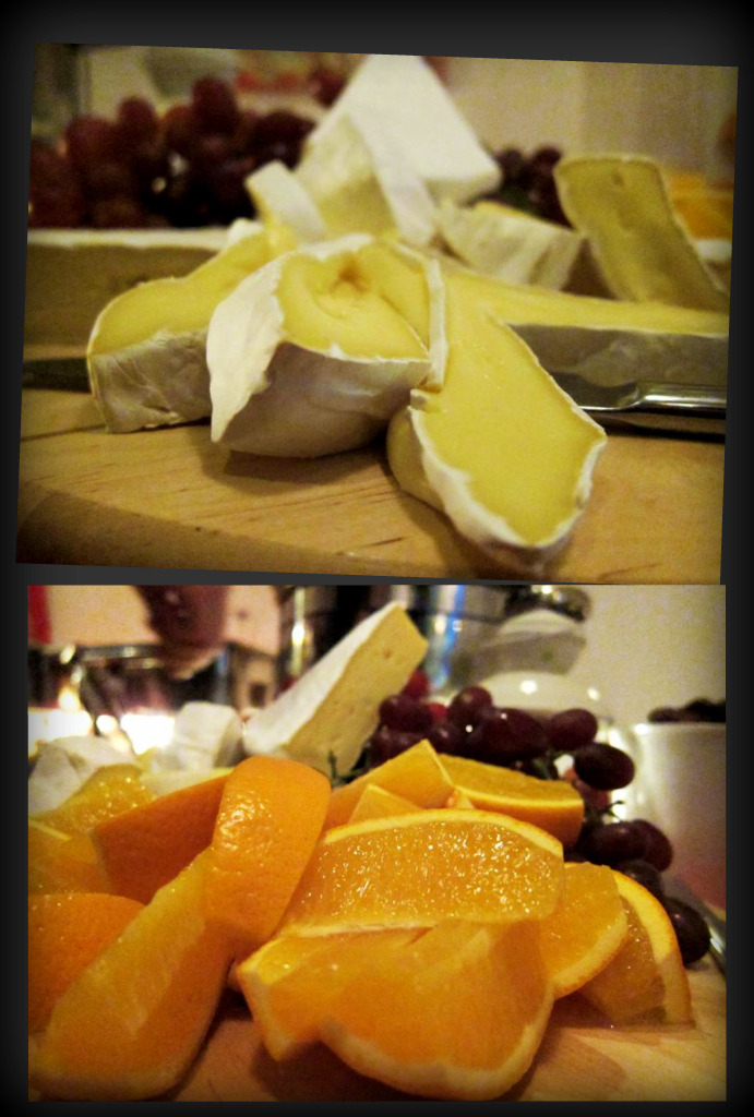 brie cheese with grapes & oranges