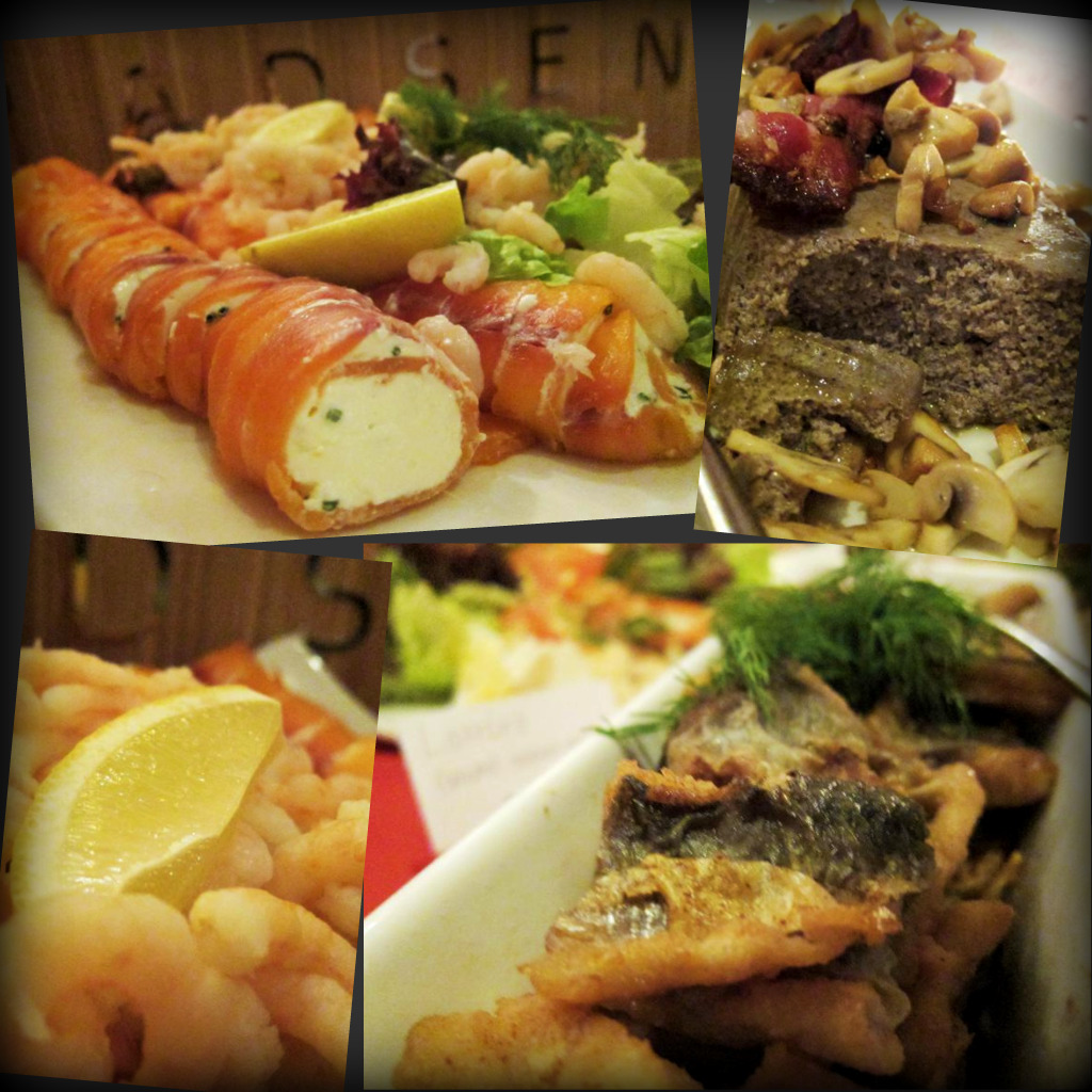 smoed salmon & chive roll; chef's pork liver pate; prawns & lemon; traditional pan-fried herring