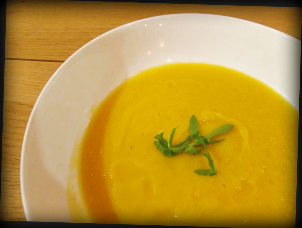 happiness is: spicy pumpkin soup, crumbed chicken and a round of good ...