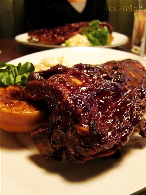 Bourbon glazed baby back ribs with apple & slaw ~ DELICIOUS!
